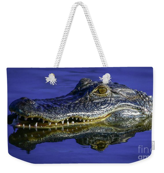Weekender Tote Bag featuring the photograph Wetlands Gator Close-up by Tom Claud