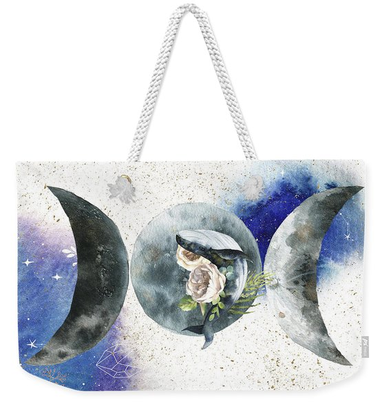 Weekender Tote Bag featuring the digital art Whale Goddess by Bee-Bee Deigner