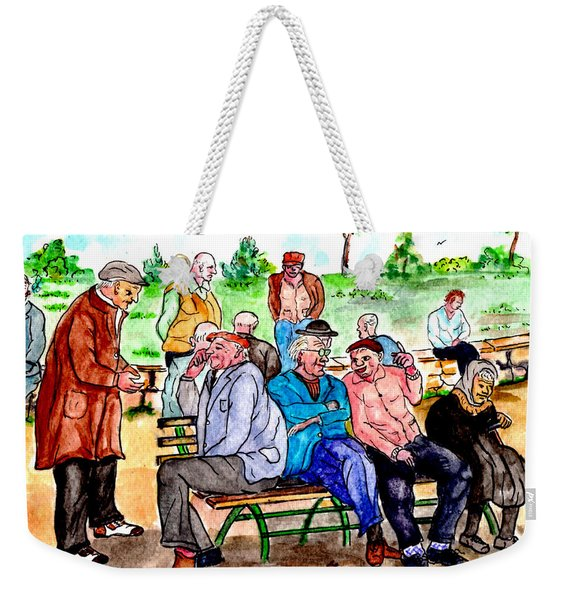 When Park Benches Were Filled With People Weekender Tote Bag