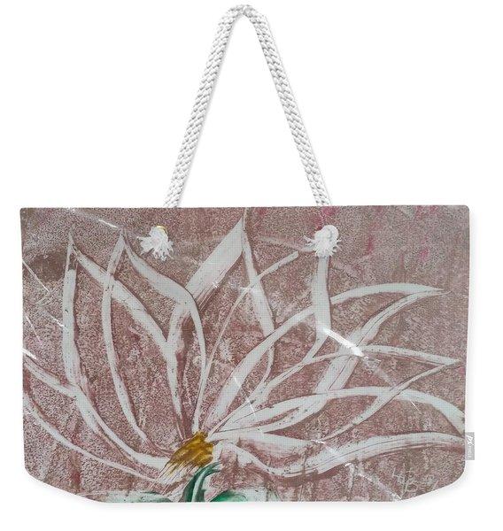 White Abstract Floral On Silverpastel Pink Weekender Tote Bag