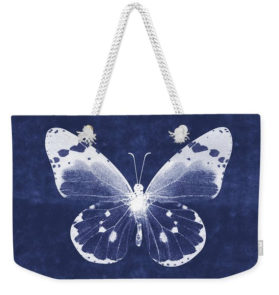 White And Indigo Butterfly 1- Art By Linda Woods Weekender Tote Bag