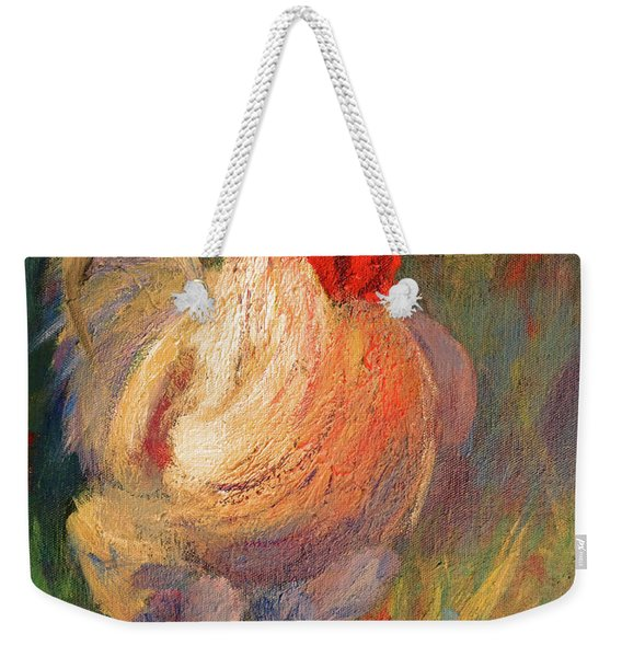 White And Red Chicken Against Green Weekender Tote Bag