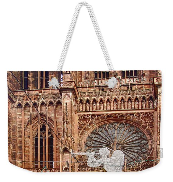 White Angel Decorations On Shops At The Christmas Market Weekender Tote Bag