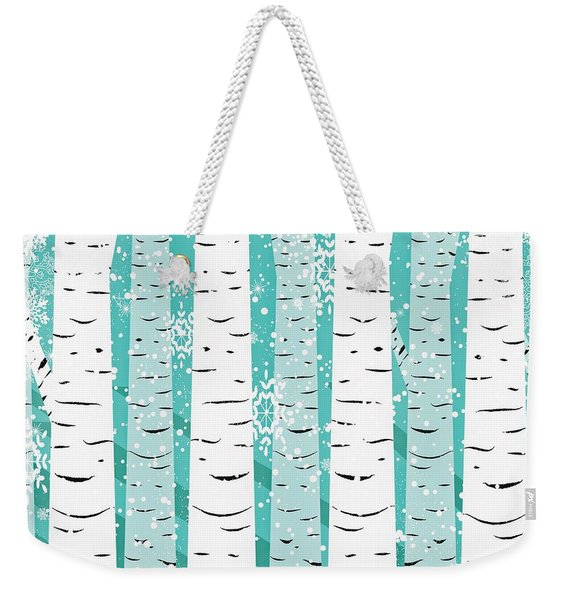 White Birch And Snow Weekender Tote Bag