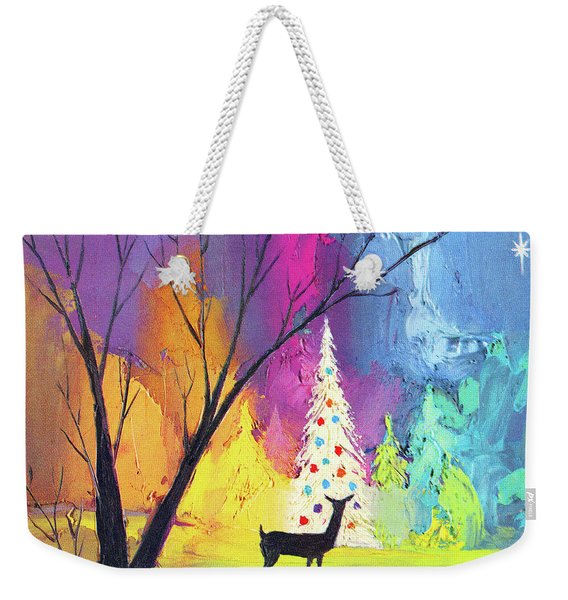 White Christmas Tree Weekender Tote Bag