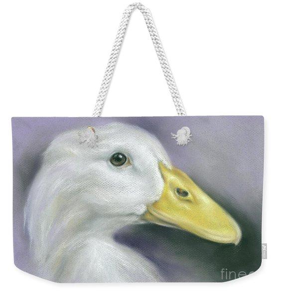 White Duck On Purple Weekender Tote Bag