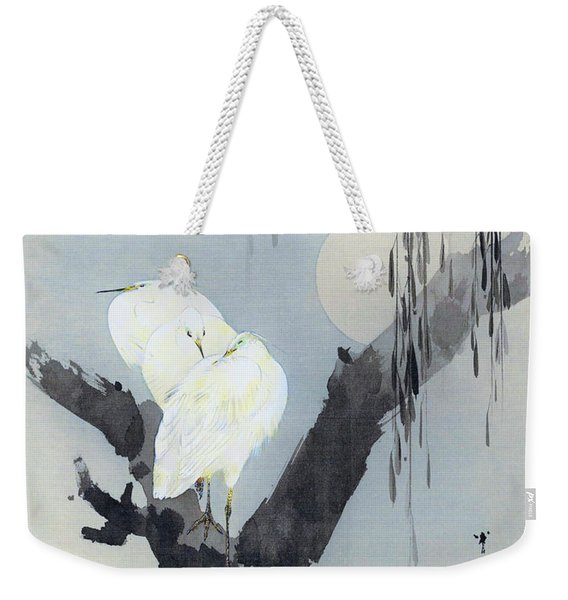 White Egret And Moon - Digital Remastered Edition Weekender Tote Bag