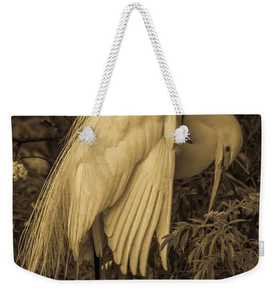 White Egret In Tree Weekender Tote Bag