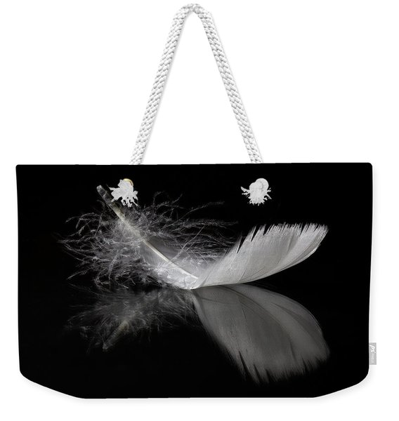 White Feather Reflection Weekender Tote Bag