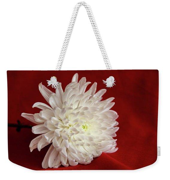 White Flower On Red-1 Weekender Tote Bag