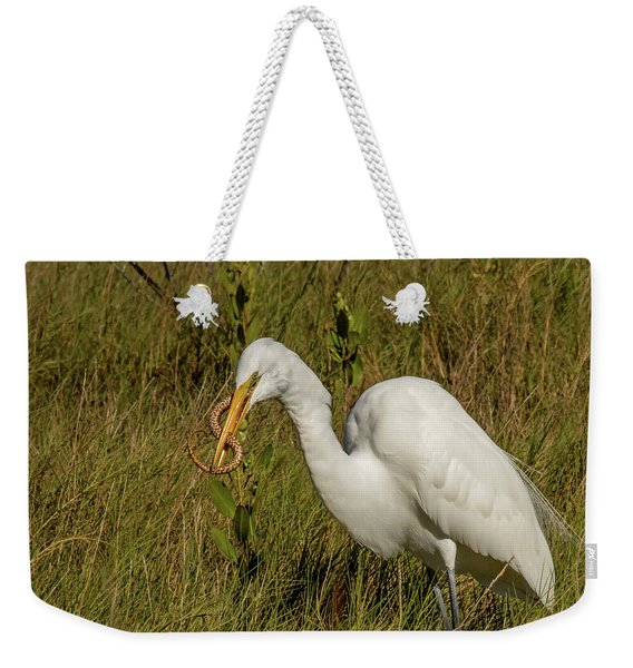 White Heron With Snake Weekender Tote Bag