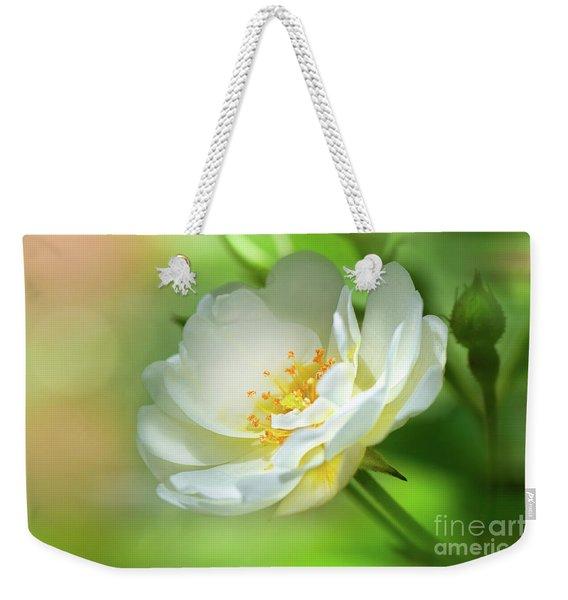 White Iceberg Rose Weekender Tote Bag