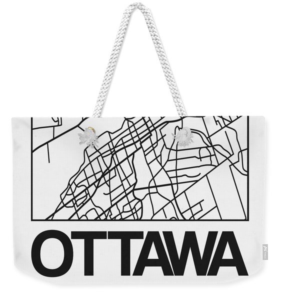 White Map Of Ottawa Weekender Tote Bag