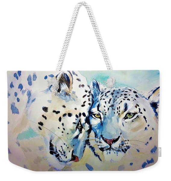 Snow Leopard Weekender Tote Bag