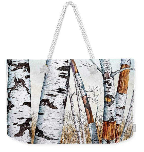 Wild Birch Trees In The Forest In Watercolor Weekender Tote Bag