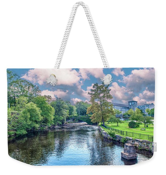 Willimantic River With Clouds Weekender Tote Bag