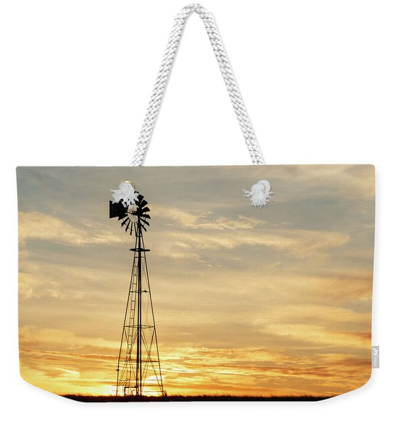 Weekender Tote Bag featuring the photograph Windmill At Sunset 02 by Rob Graham