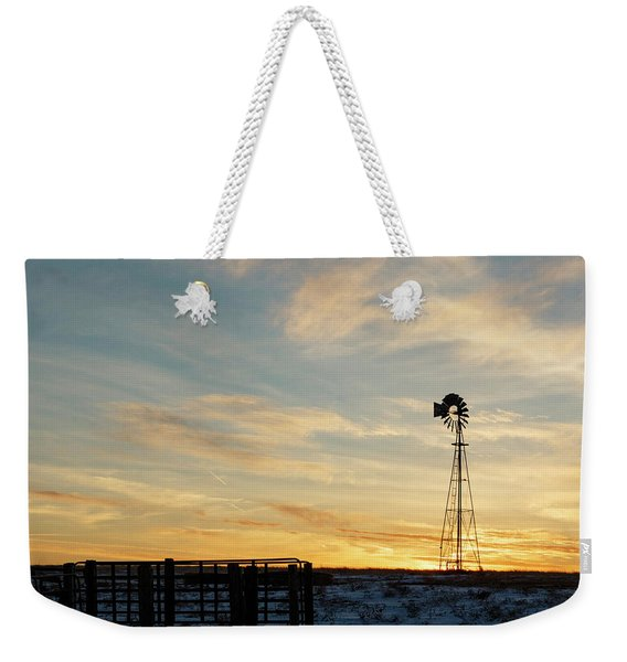 Weekender Tote Bag featuring the photograph Windmill At Sunset 04 by Rob Graham