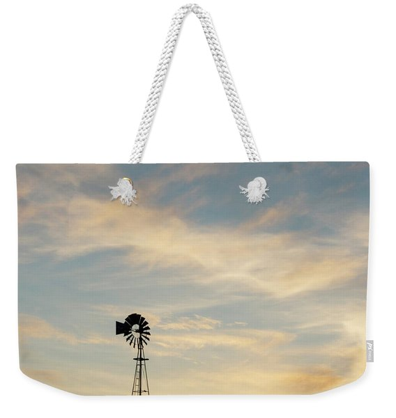 Weekender Tote Bag featuring the photograph Windmill At Sunset 06 by Rob Graham