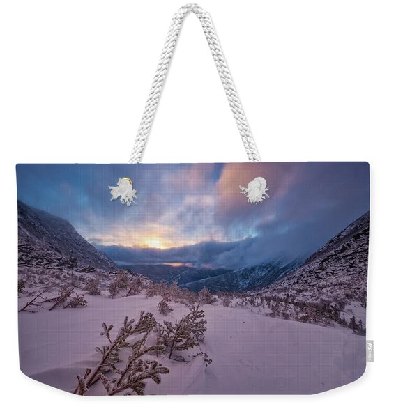 Weekender Tote Bag featuring the photograph Windswept, Spring Sunrise In Tuckerman Ravine by Jeff Sinon