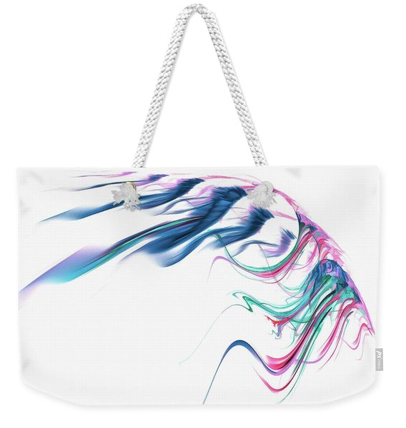Weekender Tote Bag featuring the digital art Wing Of Beauty Art Abstract Blue by Don Northup