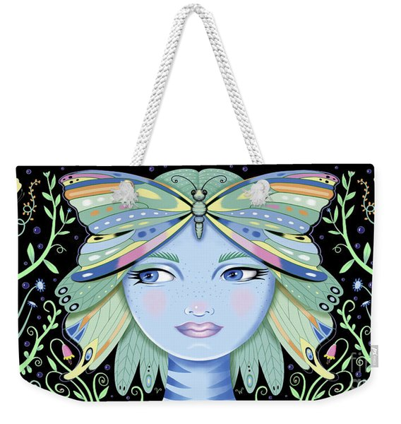 Insect Girl, Winga - Black Weekender Tote Bag