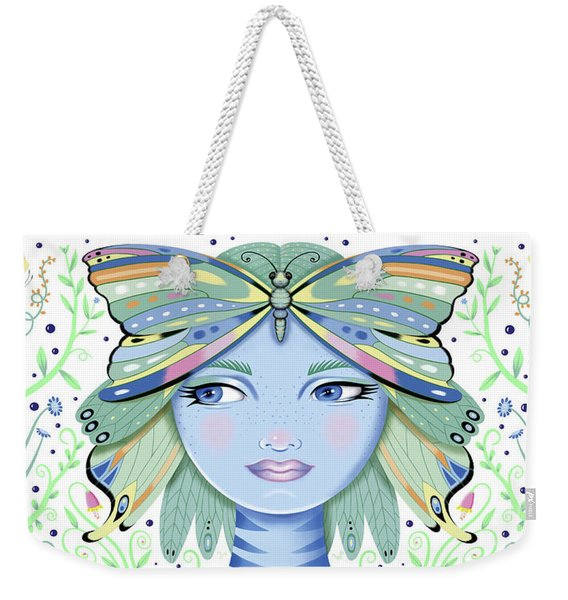 Insect Girl, Winga - White Weekender Tote Bag