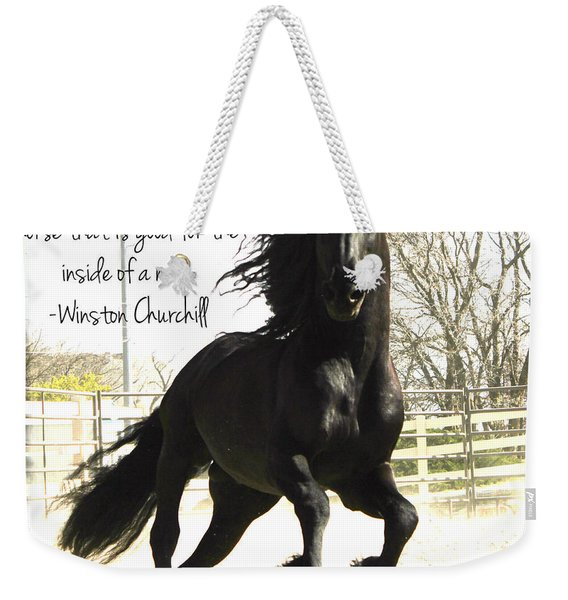 Winston Churchill Horse Quote Weekender Tote Bag