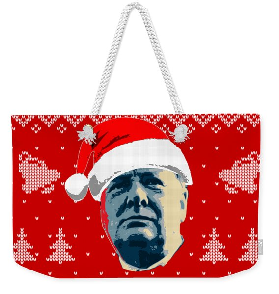 Winston Churchill Never Surrender Christmas Weekender Tote Bag