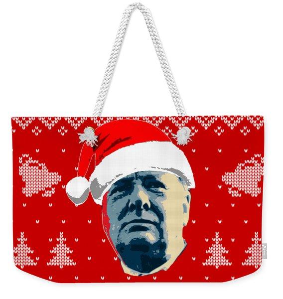 Winston Churchill Never Surrender Christmas Weekender Tote Bag