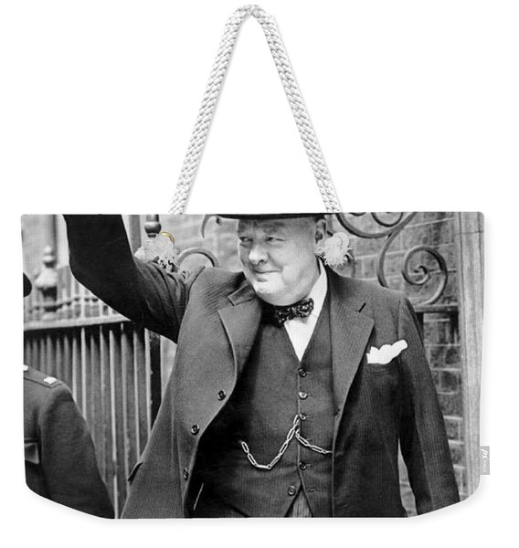 Winston Churchill Showing The V Sign Weekender Tote Bag