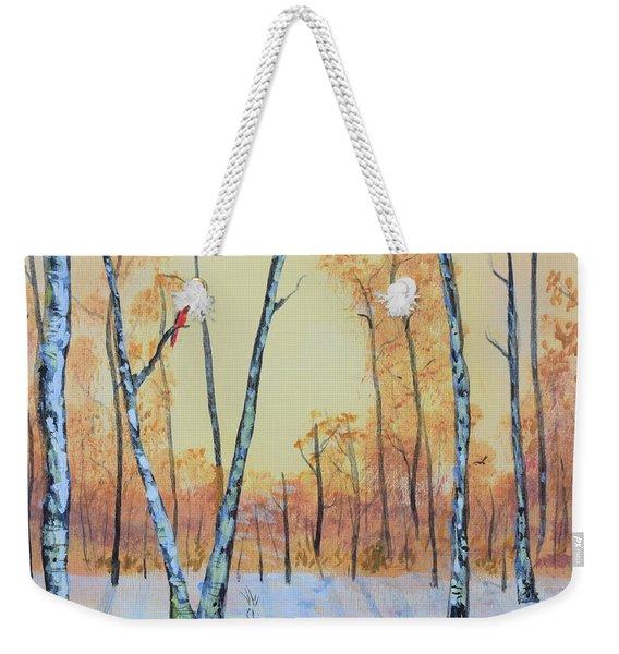 Winter Birches-cardinal Left Weekender Tote Bag