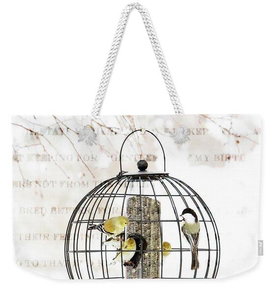 Winter Bird Feeder  Weekender Tote Bag