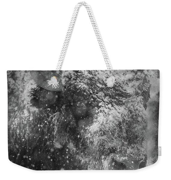 Winter Bison Weekender Tote Bag