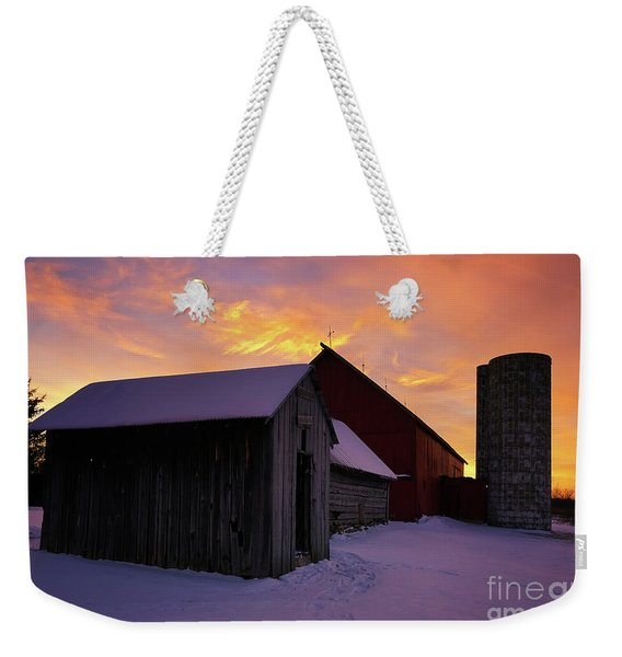 Winter Farm Chores Weekender Tote Bag
