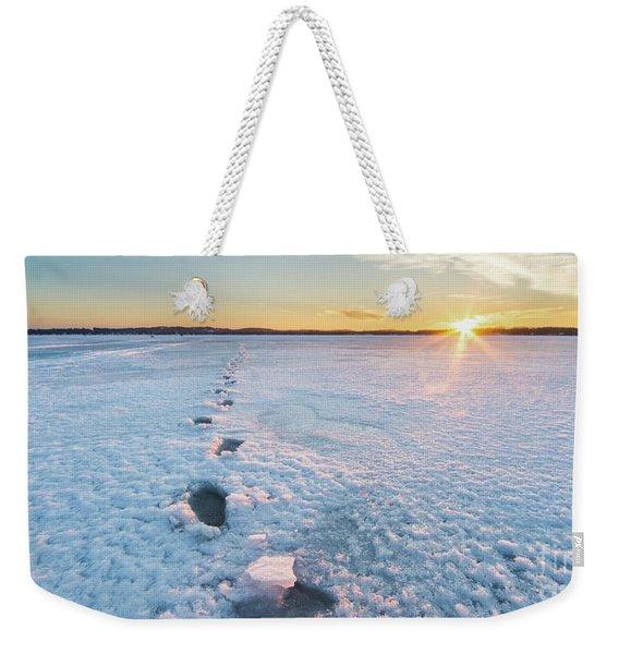 Winter Footprints Panorama Weekender Tote Bag