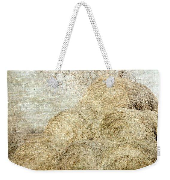 Winter Hay Stack Weekender Tote Bag