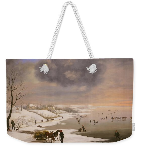 Winter Landscape With Brabrand Church Weekender Tote Bag