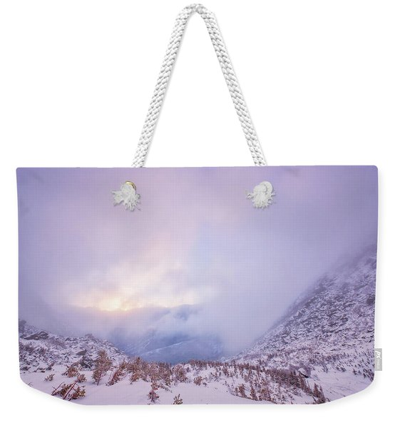 Weekender Tote Bag featuring the photograph Winter Morning Light Tuckerman Ravine by Jeff Sinon