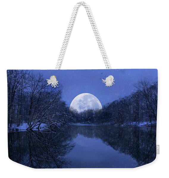 Winter Night On The Pond Weekender Tote Bag