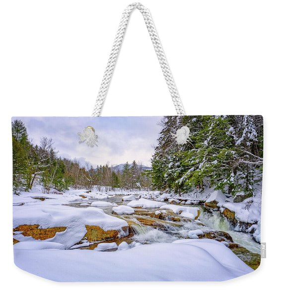 Weekender Tote Bag featuring the photograph  Winter On The Swift River. by Jeff Sinon
