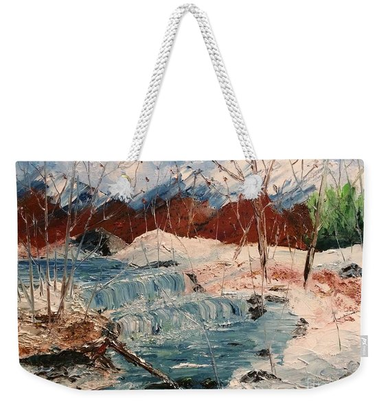 Weekender Tote Bag featuring the painting Winter Stream by Denise Tomasura