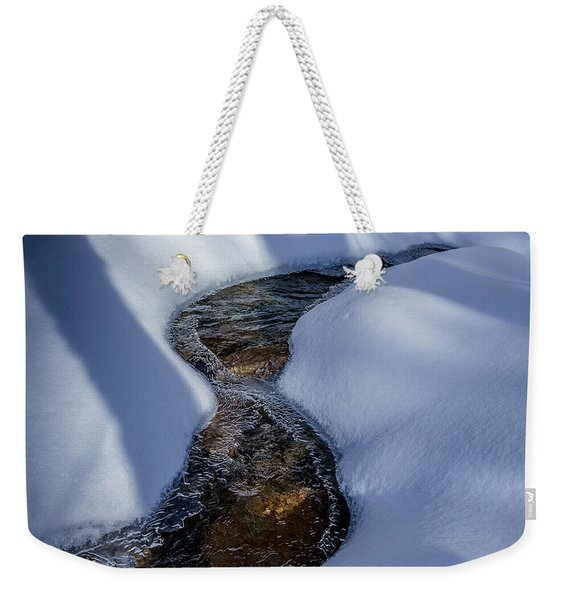 Weekender Tote Bag featuring the photograph Winter Stream. by Jeff Sinon