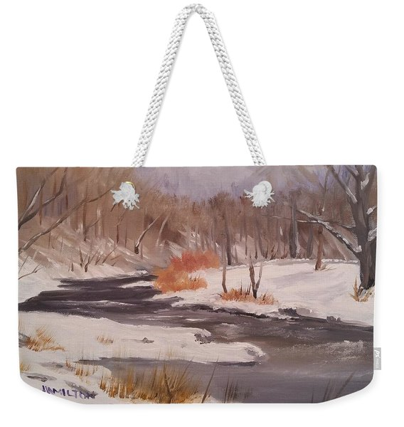 Winter Stream Weekender Tote Bag