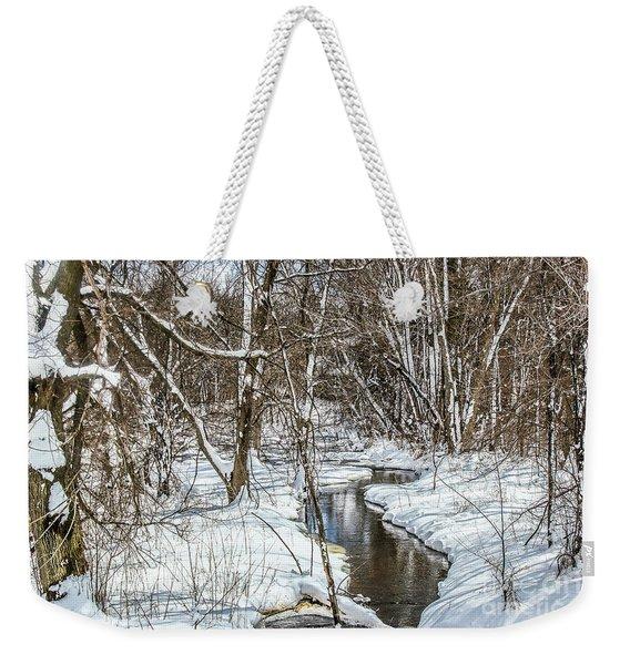 Winter Stream Weekender Tote Bag