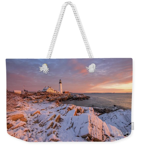 Winter Sunrise At Portland Head Light Weekender Tote Bag