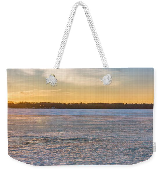 Winter Sunset Over Ice Weekender Tote Bag
