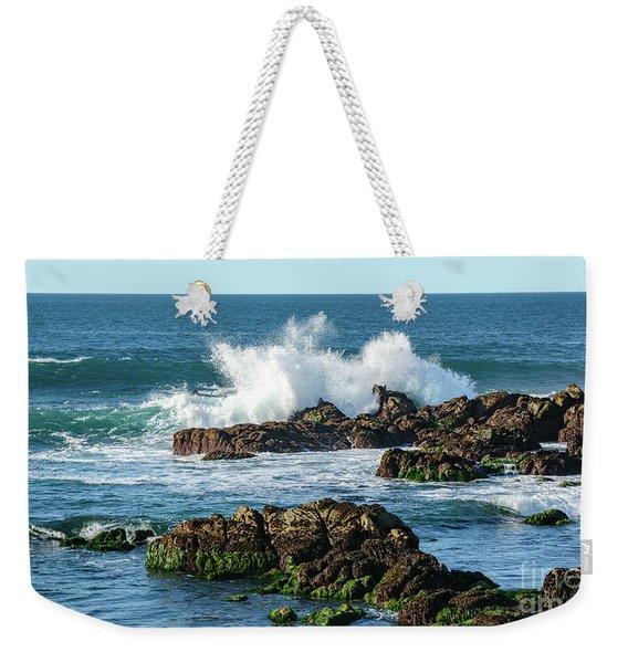Winter Waves Hit Ancient Rocks No. 2 Weekender Tote Bag