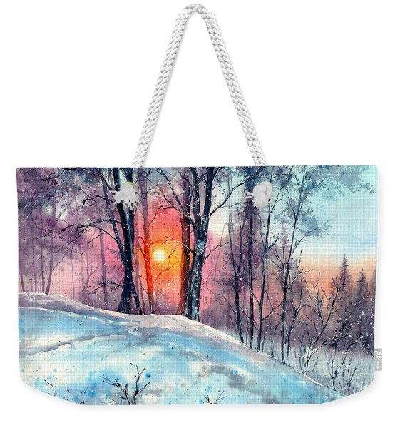 Winter Woodland In The Sun Weekender Tote Bag