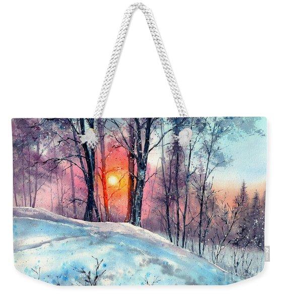 Winter Woodland In The Sun Weekender Tote Bag